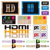 Sticker tv and icon Stock Photo