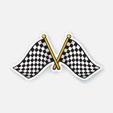 Sticker two crossed chequered racing flags on flagstaffs. Vector illustration. Two crossed chequered racing flags on flagstaffs. Cartoon sticker with contour Royalty Free Illustration