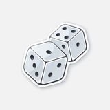 Sticker two white dice with contour Stock Photography