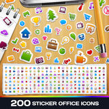 200 sticker Universele Pictogrammen Stock Afbeelding