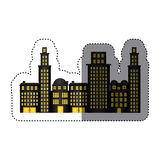 Sticker urban cityscape and residential apartments Royalty Free Stock Photo