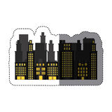 Sticker urban cityscape and residential apartments scene icon Stock Images