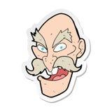 sticker van een gezicht van de beeldverhaal kwaad oud mens vector illustratie