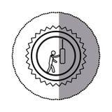 sticker van zwart-wit cirkelkader met contourzaagtand ofpictogram met de mens die ponsenzak kloppen Stock Foto