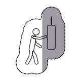 sticker van zwart-wit pictogram met de mens die ponsenzak kloppen Stock Afbeelding