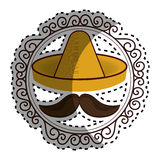 Sticker vintage border with hat and moustache mexican culture Stock Images