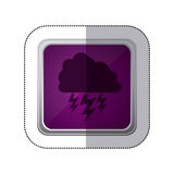 Sticker violet square button with silhouette cloud with lightnings Stock Photos