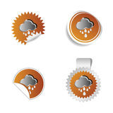 Sticker weather forecast cloud and rain vector Royalty Free Stock Image