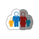 sticker of white background of pictogram with family group Stock Image