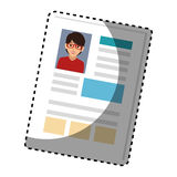 Sticker woman file info with curriculum vitae sheet. Vector illustration Stock Images