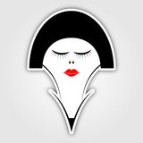 Sticker - woman with short black hair and red lips Royalty Free Stock Images