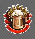 Sticker of wooden Beer mug with wheat ears Stock Illustration