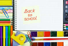 Sticker with the words back to school Stock Photos