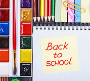 Sticker with the words back to school Royalty Free Stock Photos