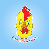 Sticker yellow chick on a blue background. Rooster symbol of the New Year 2017. Royalty Free Stock Image