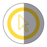 Sticker yellow circular frame with pixelated cursor arrow. Illustration Stock Photo