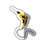 Sticker yellow drill icon tool with wired Royalty Free Stock Photos