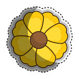 Sticker yellow silhouette figure flower icon floral. Vector illustration Stock Images