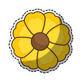 Sticker of yellow silhouette figure flower icon floral. Vector illustration Royalty Free Stock Photo
