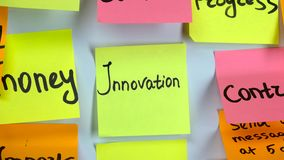 Sticker with the words innovation on a white board. Sticker yellow with the words innovation on a white board stock footage