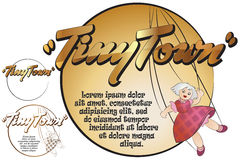 Sticker for your message. Toys in tiny Town. Doll Royalty Free Stock Image