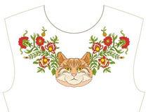Stickerei für Ausschnitt, Kragen für T-Shirt, Bluse, Hemd Patt lizenzfreie abbildung