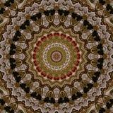 Stickerei mit dem goldenen Weinlesemuster, widergespiegelt durch Kaleidoskop vektor abbildung