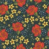 Stickerei-Stiche mit Rosen, Wiesen-Blumen Stockfoto