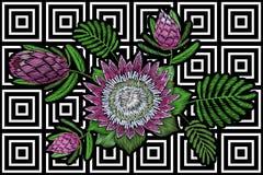 Stickereiblumenflecken tropische Proteablüte Blattmodedrucktextildekorationsstich der rosa Blume exotischer Stockbild