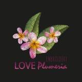 Stickereinachgemachtes Blumenmusterdesign Vector Illustrationssatinstich-Modeverzierung mit Plumeriablumen, Blätter, Text O Lizenzfreies Stockfoto
