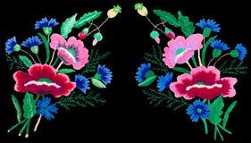 Stickereistichblumen lokalisierten schwarzen Hintergrund Stockbilder
