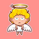 Stickeremoji emoticon, emotie, koelbloedige verveling, hopeloosheid, vector geïsoleerde karakter zoete goddelijke entiteit stock illustratie