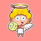 Stickeremoji emoticon, emotie wat, misverstand, vraagtekens, vector karakter zoete goddelijke entiteit isoleerde royalty-vrije illustratie