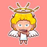 Stickeremoji emoticon, emotie zweert, boos, bliksem, de vector geïsoleerde zoete goddelijke entiteit van het illustratiekarakter royalty-vrije illustratie