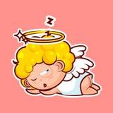 Stickeremoji emoticon, emotieslaap op maag, ligt, sluimert, de slaperige vector zoete goddelijke entiteit van het dutjekarakter royalty-vrije illustratie