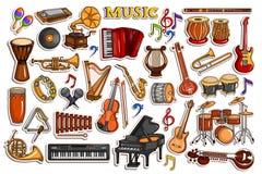 Stickerinzameling voor muziek en vermaakinstrumentenvoorwerp royalty-vrije illustratie