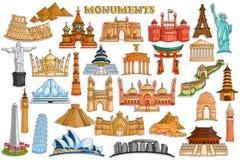 Stickerinzameling voor wereldberoemd monument en de bouw Stock Afbeeldingen