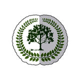 Stickerkroon van bladeren met boom en stopschakelaar Royalty-vrije Stock Foto's