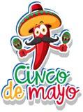 Stickermalplaatje voor Cinco DE Mayo met rode Spaanse peper