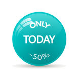 Stickeronly  today sale. Sticker only today sale. Glossy mirror button Stock Images