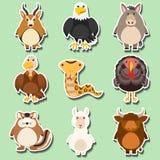 Stickerontwerp met vele dieren op groene achtergrond royalty-vrije illustratie