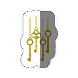 stickerpatroon met uitstekende gouden sleutels die op kettingen hangen stock illustratie