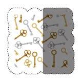 stickerpatroon met uitstekende sleutels van goud en zilver royalty-vrije illustratie