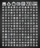 200 stickerpictogrammen Royalty-vrije Stock Afbeelding