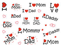 "Stickers ""i love mom"" and ""I love dad"", Royalty Free Stock Photos"