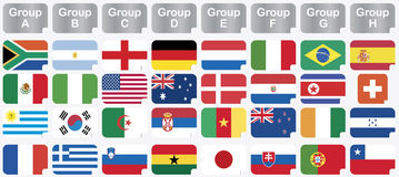 Stickers with 2010 world cup national flags Royalty Free Stock Image