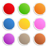 Stickers. Set of colorful round stickers on white background Royalty Free Stock Image
