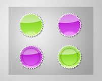 Stickers. Green and violet stickers in two versions Royalty Free Stock Photo