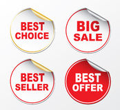 Stickers. Best offer, Best choice, Best seller, Big sale Stock Images