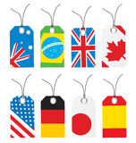 Stickers. Vector illustration of stickers with flags Stock Photography